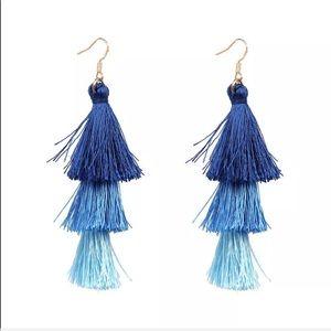 Jewelry - Long Tassel Drop Earrings (blues)